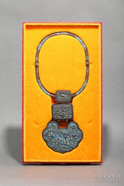 景泰蓝银锁项圈,