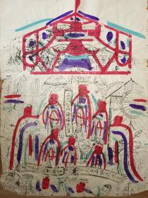 稀见南通工艺美术研究所藏品*七八十年代南通木版年画版画*大尺寸*上元一品赐福天官
