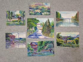 无签名老旧水粉画7幅小品打包出售 原稿手绘真迹