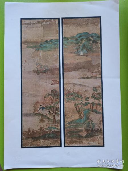 平安时代山水屏风图三幅,摄影制版印刷日本写真印刷会社,有东京堂藏版凸版水印