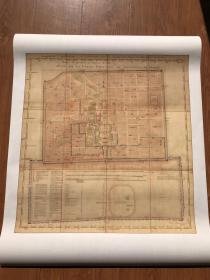 古地图1752 北京最早带经纬线的地图 清 佚名。纸本大小67.02*71.15厘米,宣纸原色微喷印制