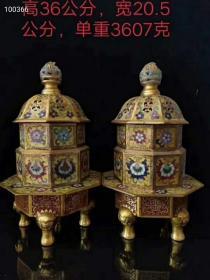 《精品》大明宣德年制,景泰蓝鎏金熏香炉一对,做工精致,包浆自然,尺寸如图,重3607克,买家自鉴