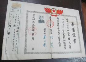 1955年天津  第三女子中学  毕业证书
