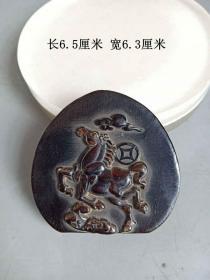 清代传世雕马上有钱牌挂件