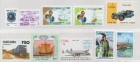 外国邮票B,各国交通工具,帆船、飞机、火车、汽车等,10枚价