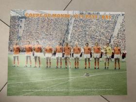 足球海报  1974世界杯 无冕之王 荷兰队/克鲁伊夫,品相如图