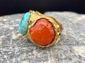 纯银鎏金松石戒指
