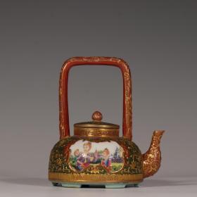 珐琅彩雕刻卷草纹福寿纹开窗人物花卉壶套组。