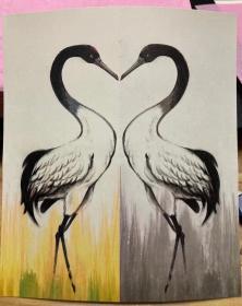 国版《心心相印》黑颈鹤雕刻版双联片  黑颈鹤邮资明信片