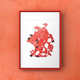 牛年春节剪纸 手工剪纸 中国风特色手工艺品