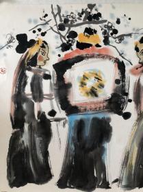 (双钻老店优惠,1幅9折,2幅8.5折,3幅8折,石虎斗方对望图,省诗词学会会长收藏作品流出,画面有收藏章,介意慎购。