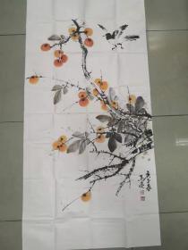 【保真 特惠】北京美协会员 清华美院高研班导师 马亮 四尺整张花鸟4