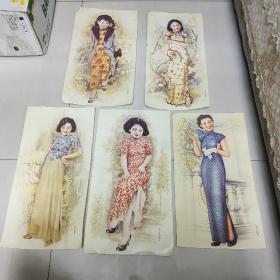 民国美女香烟画,早期翻印。五张合售。