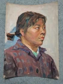 成都名家肖老 文革时期油画人物 原稿手绘真迹保真出售