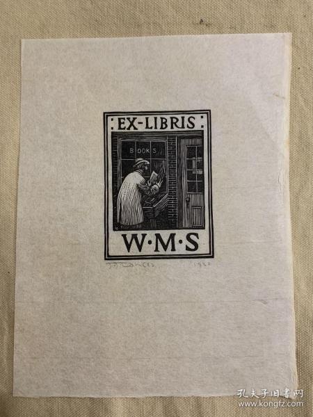 《书店》1920年J.J.Lankes木刻原版书票,有制作者亲笔签名