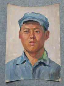 成都名家肖老 文革时期油画人物作品 原稿手绘真迹保真出售