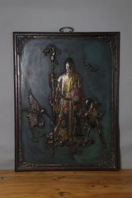 旧藏楠木大漆福禄寿挂屏,做工精致考究,雕工精湛,高81厘米,宽61厘米