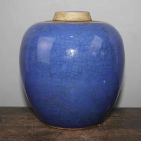 民国蓝釉罐