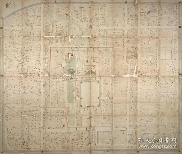 0070古地图1747清乾隆12年精绘北京图。彩绘。城市地图。大英图书馆藏。纸本大小54.97*65.02厘米。宣纸原色微喷印制,按需印制不支持退货