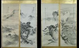 1913年九峰樵者《风景图》四幅,原托裱镜心,保老保手绘真迹。品相如图,名头自查。画心尺寸:140 x 52 cm。