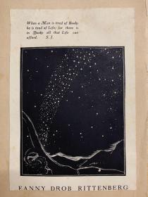 木刻版画藏书票一枚 《星空》Laura Drob Rittenberg