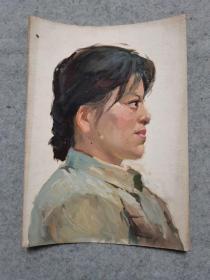 文革时期油画人物 原稿手绘真迹 保真出售