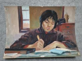 成都名家肖老 70年代油画人物 原稿手绘真迹保真出售