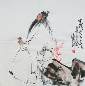 ●【顺丰包邮】【纯手绘】【汪国新】国家一级美术师、手绘四尺斗方人物画(68*68CM)  2买家自鉴