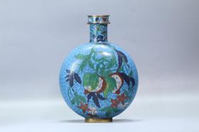 旧藏,回流 明铜胎掐丝珐琅石榴寿桃纹抱月瓶