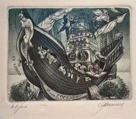 比利时 帕维尔 Hedwig Pauwels 版画藏书票原作2精品收藏