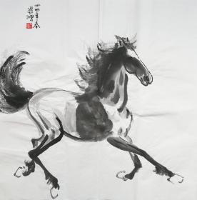 ☽【顺丰包邮】【纯手绘】【徐悲鸿】中国现代画家、纯手绘四尺斗方马(68*68cm)4买家自鉴.