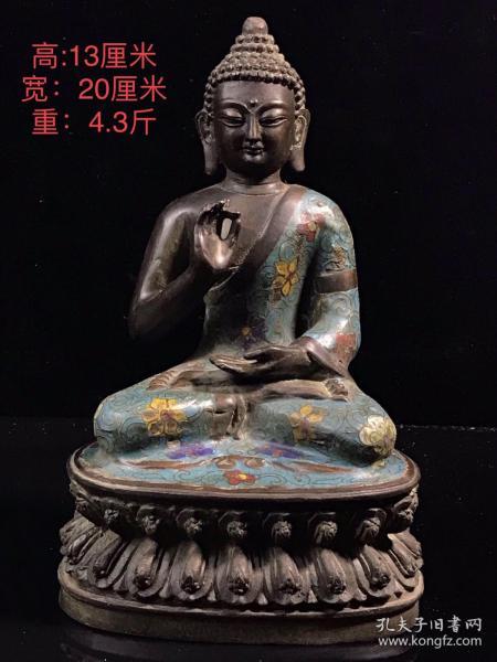 旧藏景泰蓝铜佛像,纯铜纯手工打造 镶嵌景泰蓝 工艺精美 做工精细 面目端庄 盘膝而坐于莲花台上 品相完好