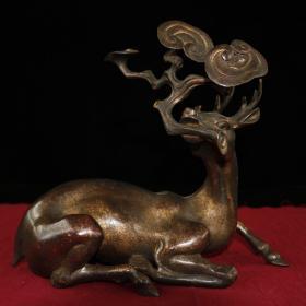 日本回流 铜器 灵芝鹿  24x27x11cm