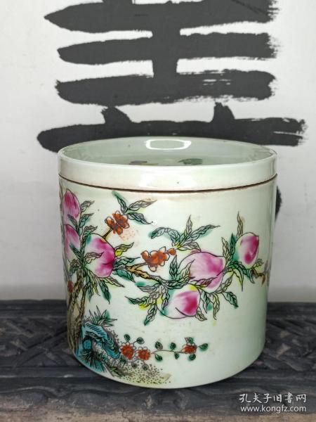 粉彩瓷器 粉彩花卉大烟缸 寿桃纹、喜上眉梢、五福捧寿 传统中国题材。直径11cm 高10.5cm。