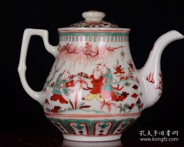 大明成化三年御赐昭德宫珍藏红绿彩五彩婴戏图纹酒壶茶壶