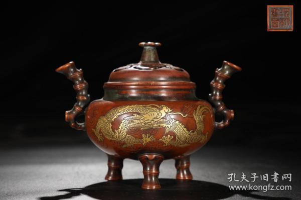明 精铸铜胎鎏金云龙纹竹节熏炉