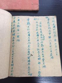 民国末期民间账簿两册,货币为光洋花边,册后有草写家谱,册中多有空白