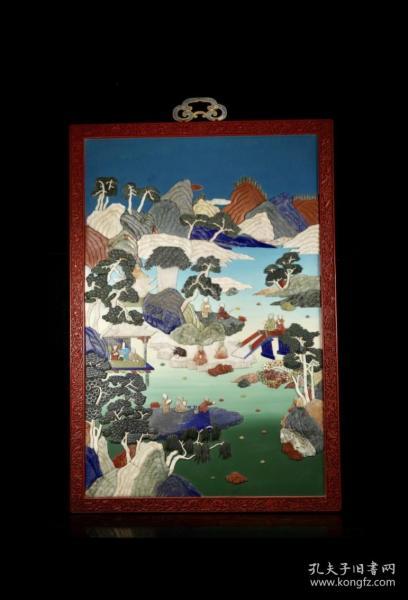 海外回流:清造办处特色 大漆剔红山水人物百宝嵌挂屏,