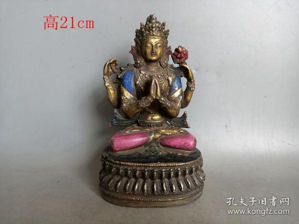 乡下收的明代添彩老铜佛像
