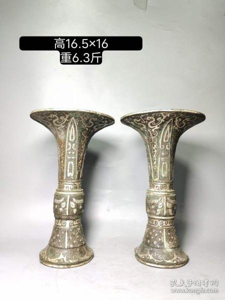 青铜搓银铭文瑞兽花觚一对,买家自鉴