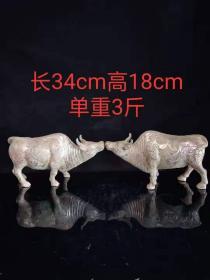 汉代青铜措银牛一对,买家自鉴