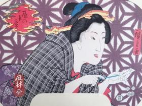 团扇绘 歌川广重美人扇面 安达版画院复刻日本浮世绘 纯手工木板水印画