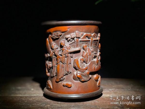 竹雕文人雅集笔筒1   9f