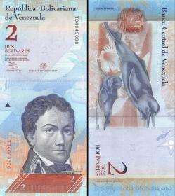 念椿萱 外国纸币 委内瑞拉 P-88C 2玻利瓦尔 2008年 20081219 +++