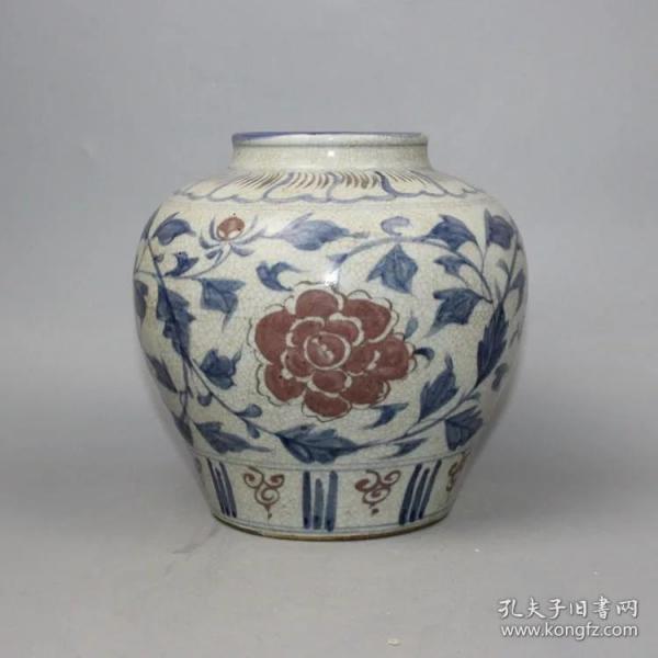 青花釉里红花卉罐