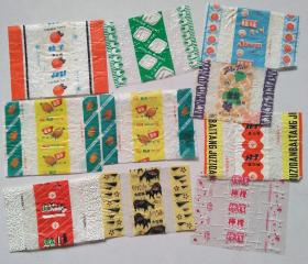 老糖标/糖纸:奶油太妃糖+酒香乳脂糖+葡萄硬糖+桔味蛋白糖+孔雀奶糖+柠檬软糖+桔子蛋白糖(2枚不同)+菠萝蛋白糖(2枚相同)10枚合售