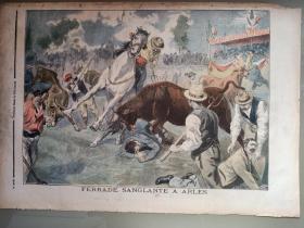 1900年法国画报单张ferrade sanglante a arles阿尔勒铁路