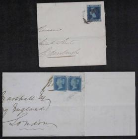 1850年  贴英国蓝便士无齿邮票实寄封二件