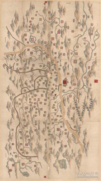 0067古地图1855-1871清咸丰同治年间甘肃舆图。彩绘本,地方行政区图。纸本大小117.79*210.77厘米。宣纸原色微喷印制,按需印制不支持退货