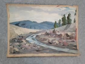 成都名家肖老文革时期在川美院的油画风景作品 原稿手绘真迹 永久保真